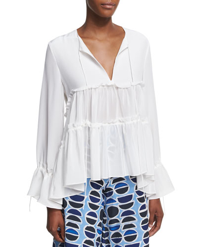 Vida Split Neck Peasant Blouse, White