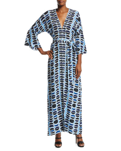 Millan Silk Maxi Dress, Blue Pattern