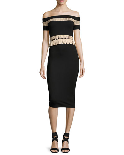 Bailey Off-the-Shoulder Fitted Midi Cocktail Dress, Black