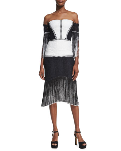 Antoinette Embroidered Fringed Midi Dress, Black/White