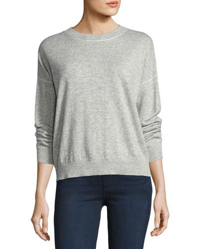 Criselle Drop-Shoulder Crewneck Sweater, Gray