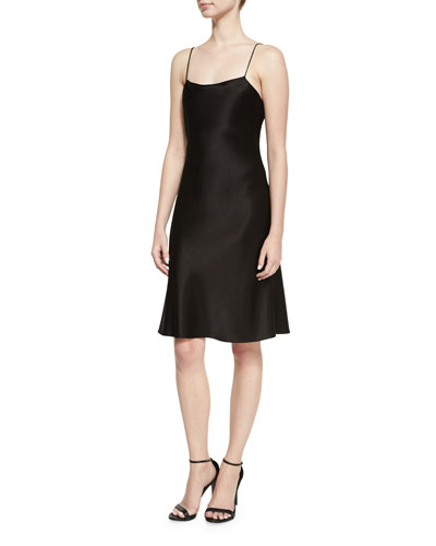 Harmony Drapey Satin Cocktail Slip Dress, Black