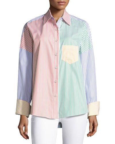 Linda's Colorblock Stripe Blouse, Multi