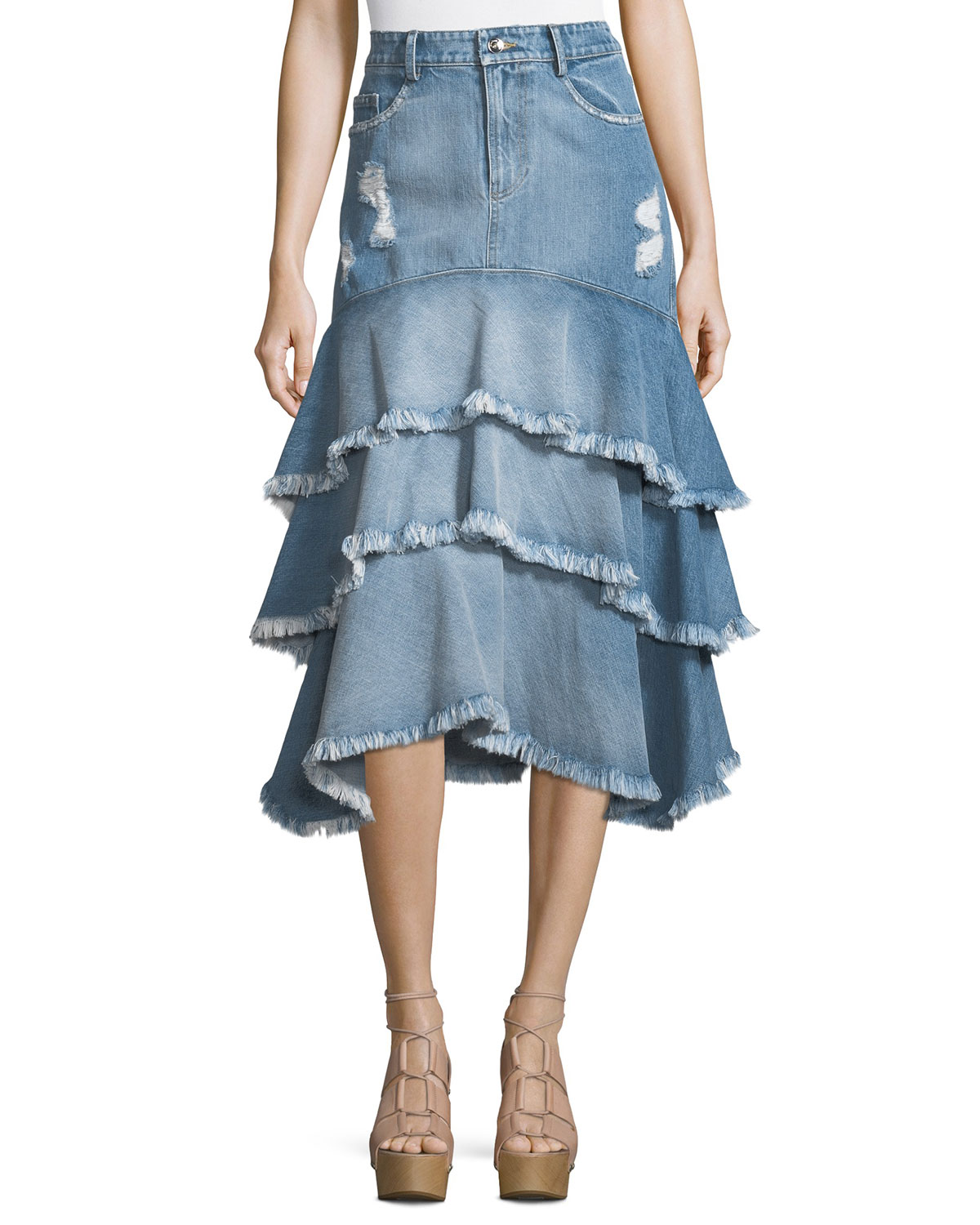 Distressed Ruffle Denim Midi Skirt