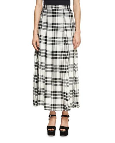 Athena Double Slit Plaid Maxi Skirt, White/Black
