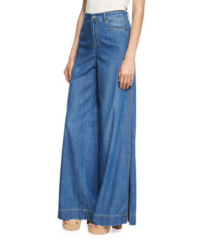 Clarissa Wide Leg Side-Slit Jeans, Blue