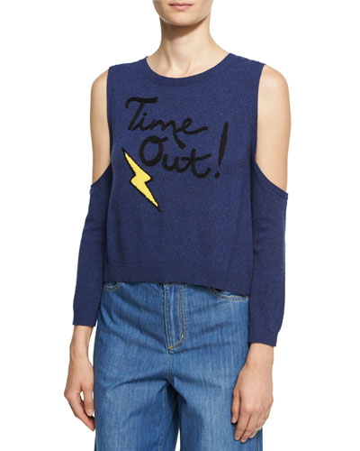 Wade Time Out Cold-Shoulder Sweater, Blue Multi Pattern
