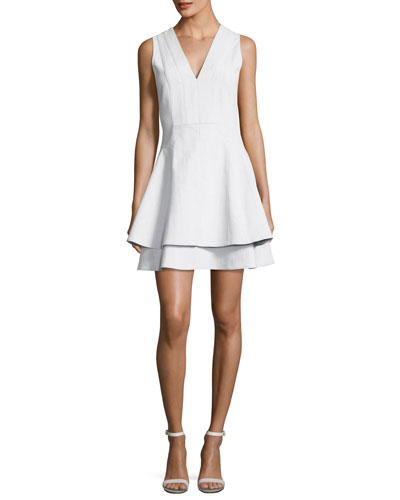 Sleeveless V-Neck Fit Flare Mini Dress, White