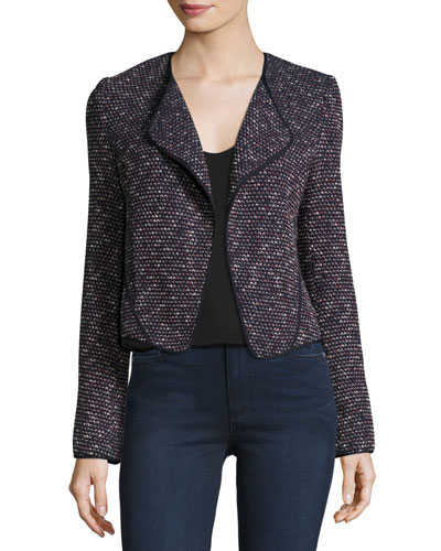 Long-Sleeve Tweed Cardigan Jacket, Navy