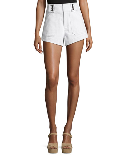 Utility Shorts with Button Detail, White