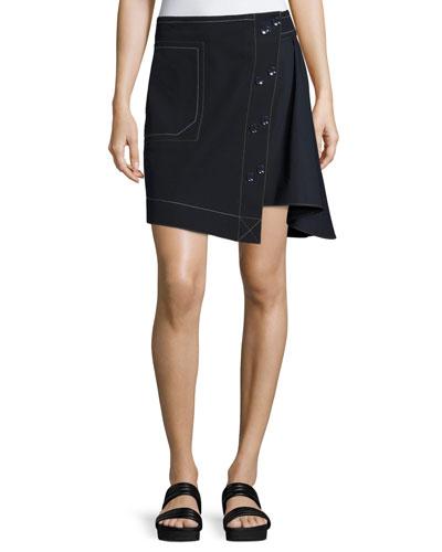 Asymmetric A-line Combo Skirt, Navy