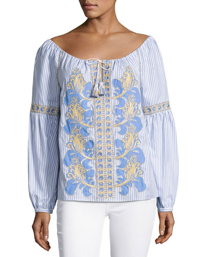 Embroidered Seersucker Peasant Blouse, White