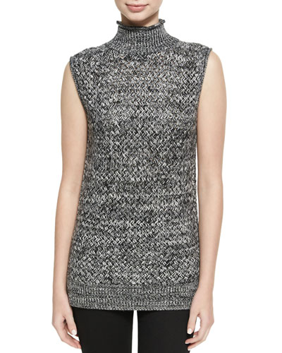 Abbot Sleeveless Basketweave Mock-Neck Sweater, Black-White