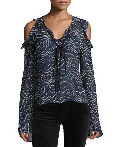 Ruffled Cold-Shoulder Chiffon Blouse, Navy