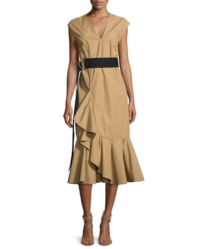 Sleeveless Ruffle Hem Belted Dress, Beige