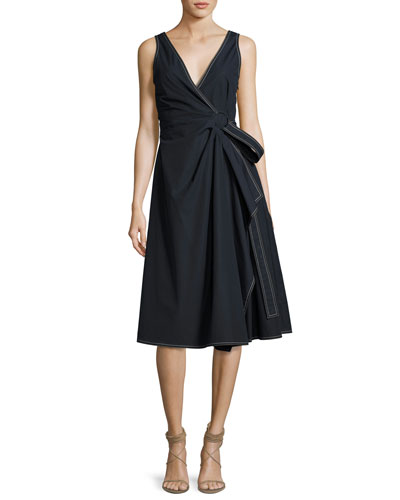 Wrap Cotton Dress W/ Pleating, Navy