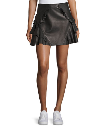 Ruffled Leather Mini Skirt, Black