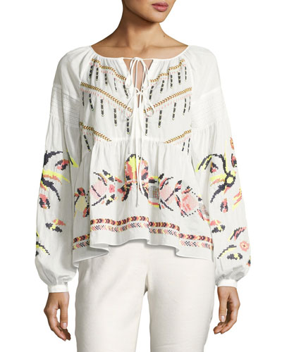 Clemence Cross-stitch Embroidered Top, White