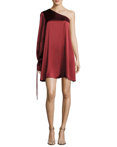 Leah One-Shoulder Satin Dress, Red