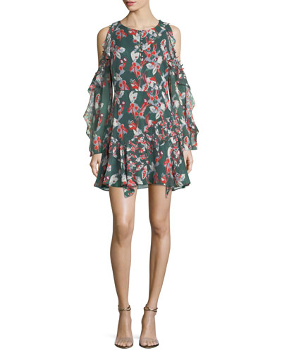 Laine Cold-Shoulder Floral-Ikat Gauze Silk Dress
