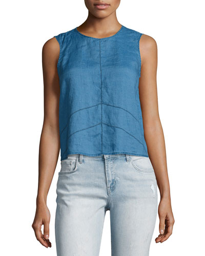 Saia Sleeveless Linen Chambray Top, Blue