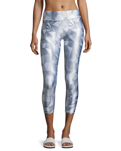 Geo Tall Band Performance Leggings, Light Gray