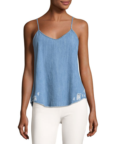 Lilian Chambray Camisole Top W/ Distressing
