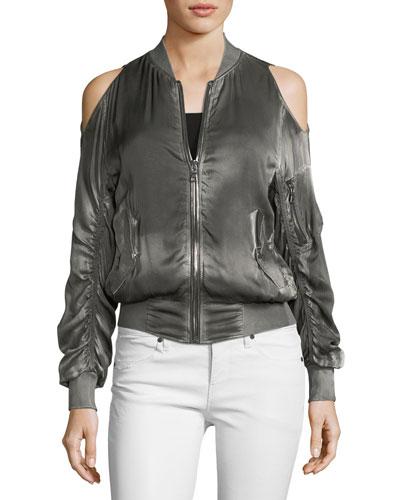 Jester Cold-Shoulder Silk Bomber Jacket