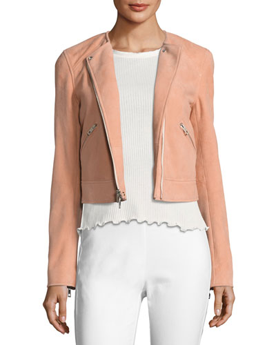 Hollander Suede Motorcycle Jacket, Pink