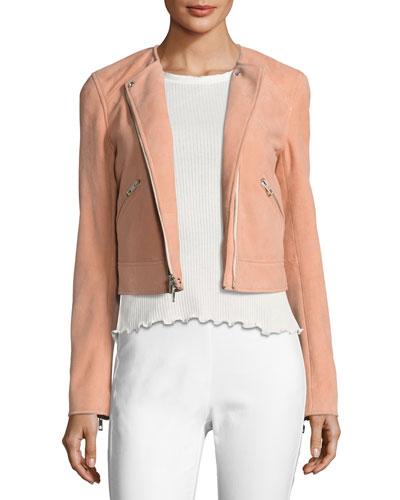 Hollander Suede Motorcycle Jacket, Pink