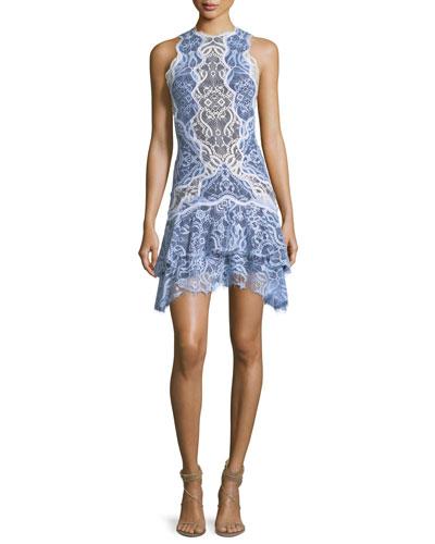 Two-Tone Lace Ruffle Hem Mini Dress