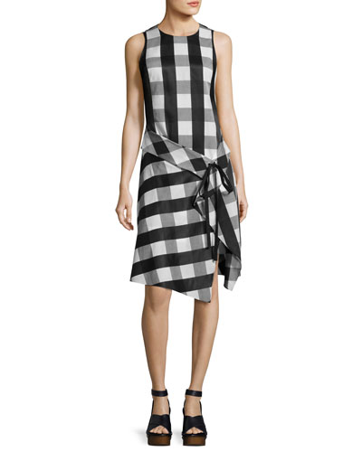 Brighton Plaid Tank Midi Dress, Black/White