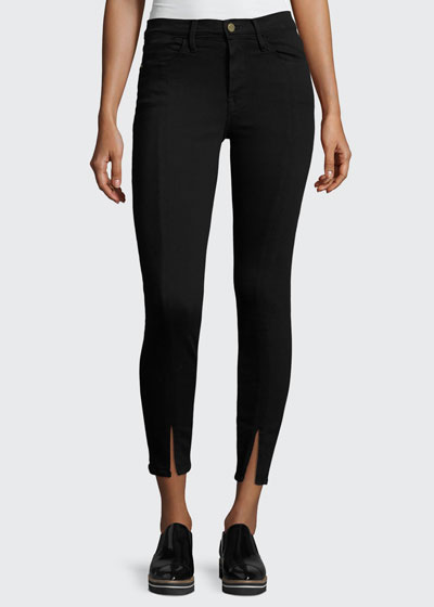 Le High Split-Front Skinny Jeans, Black