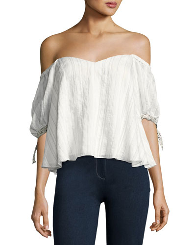 Off-the-Shoulder Striped Blouse, White