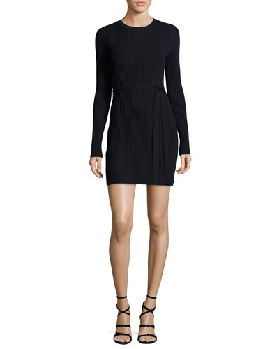 Rib-Knit Long-Sleeve Mini Dress, Navy