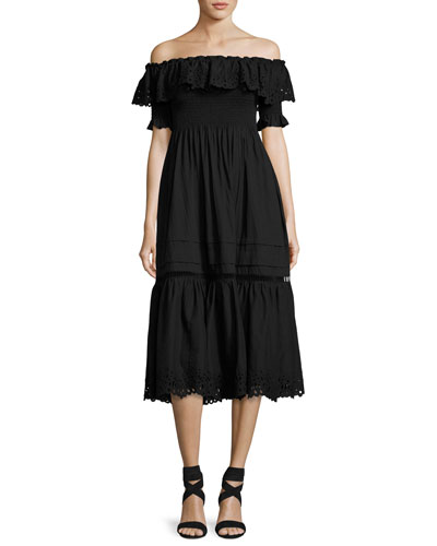 Off-the-Shoulder Eyelet Midi Dress, Black