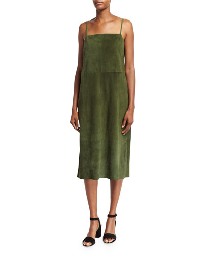 Suede Sleeveless Slip Midi Dress, Green