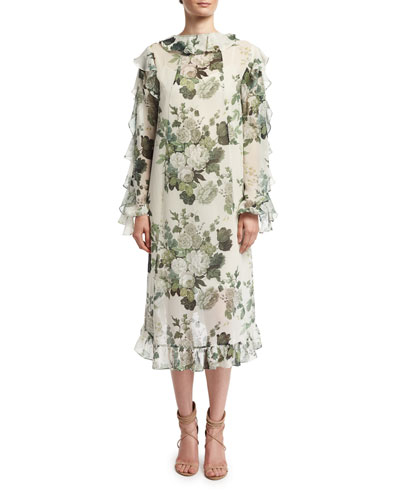 Ruffled Low-High Hem Midi Dress, Green Pattern