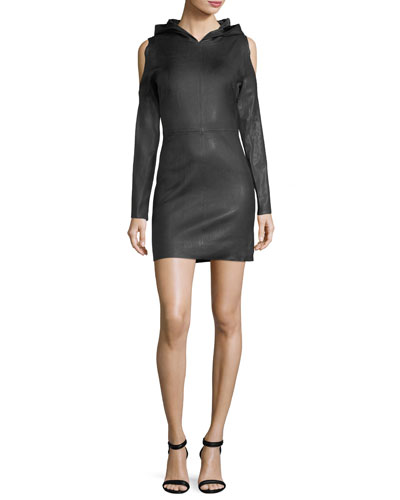 Grace Cold-Shoulder Hooded Leather Dress