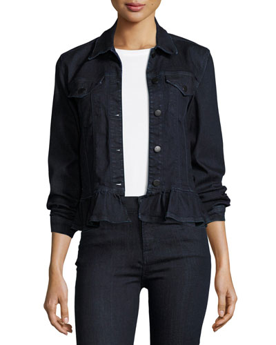 Slim Denim Jacket W/ Frill, Blue
