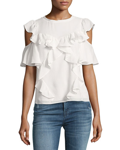 Cold-Shoulder Ruffled Silk Top