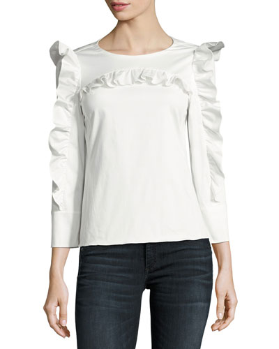 Round-Neck Button-Back Ruffled Poplin Top