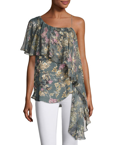 Your Girl Asymmetric Floral Silk Blouse, Multi