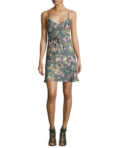 Chain Cami Silk Slip Dress, Multi