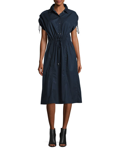 Snap-Front Cotton Poplin Shirtdress