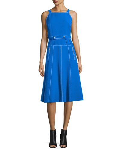 Sleeveless Topstitched A-Line Dress w/ Belt