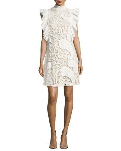 Smocked-Collar Sleeveless Ruffled Lace Mini Dress, White