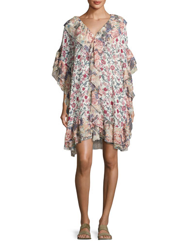 Floral Wallpaper Print Shift Dress, White