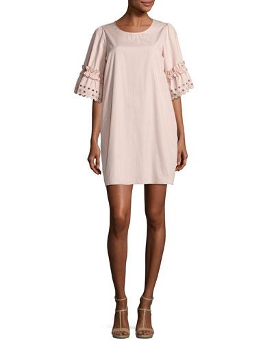 Eyelet-Sleeve Cotton Shift Dress, Blush