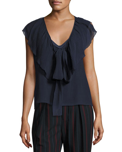 V-Neck Tie-Front Ruffled Chiffon Top, Blue